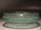 Early Roman molded bluish green glass ribbed bowl