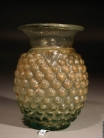 Roman moulded light green glass ???Grapes??� flask with short neck